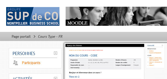 SupdeCo Montpellier - Interface Moodle